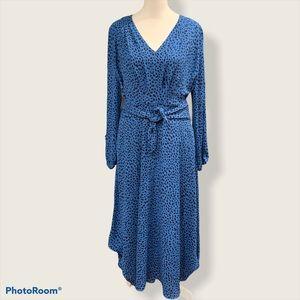 Ann Taylor Blue/Black Long Sleeve Maxi Dress